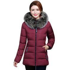 f2ea2bddd81 2019 High Quality Winter Jacket Women With Fur Hooded Warm Women s Jacket  Plus Size 4XL 5XL Coat Short Parka Camperas Mujer