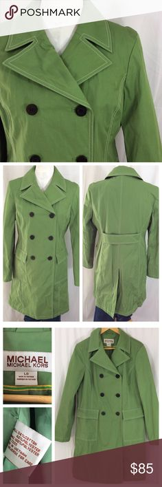 "MK Kelly Green Coat This is such a beautiful coat!! Kelly green cotton/poly shell that has a protective feel, great coat for rain or wind. Gorgeous white top stitching and double breasted front closure. Full lining, non-restricting wrists. Size L, 20.5"" chest, 21.5"" hips, 37"" length. Excellent condition MICHAEL Michael Kors Jackets & Coats"