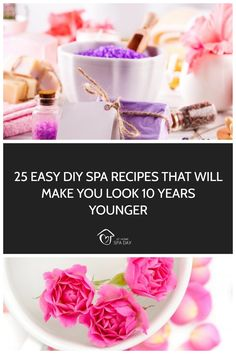These Easy, fast DIY Spa Recipes use less than 5 natural ingredients per recipe and Will Make You Look 10 Years Younger. Perfect for a spa day at home. Pamper Days, Home Spa Treatments, Spa Night, Bath Recipes, Spa Day At Home, Diy Spa, Homemade Face Masks, Diffuser Blends, Beauty Recipe