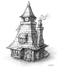Artist Study Resources for Art Students with Creative, Uncut, CAPI ::: Creating Art Portfolio Ideas 3d Fantasy, Fantasy House, Animal Drawings, Art Drawings, Medieval Houses, House Sketch, Art Portfolio, Art World, Art Sketches