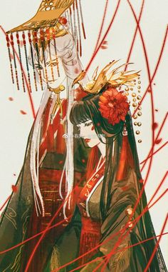 A wedding between two clans. Credits to the wonderful artist who created this illustration. Anime Love Couple, Couple Art, Chinese Drawings, Art Drawings, Fantasy Kunst, Fantasy Art, Character Art, Character Design, Fantasy Couples