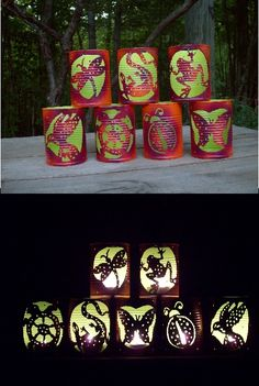 "set of 7 Summer Critters ""CAN""-dle Luminares $42.. Kracklewoods on Etsy"