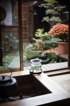 looking out to a Japanese garden