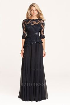 A-Line/Princess Scalloped Floor-length Chiffon Mother of the Bride Dress