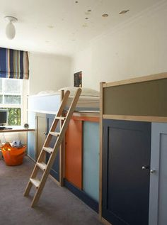 Love the built-in loft beds with all the hidden storage underneath. Really makes the best use of the space. Add a queen bed underneath and in centre. Great to sleep 3 kids in one room!