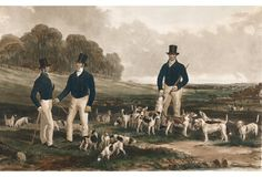 Merry Beaglers Hunting Lithograph, 1897