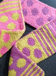 Striped & Spotted Scarf - double knitting projects