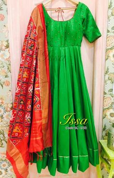 Beautiful and elegant full flare leafy green stitched Anarkali top and Churidar Set with Ikkat dupatta. metres long metres long metres The total cost includes price of the raw material,stitching charges and detailed handmade craftsmanship rates. Indian Dress Up, Indian Attire, Indian Ethnic Wear, Indian Outfits, Indian Clothes, Salwar Designs, Blouse Designs, Mode Bollywood, Anarkali Dress