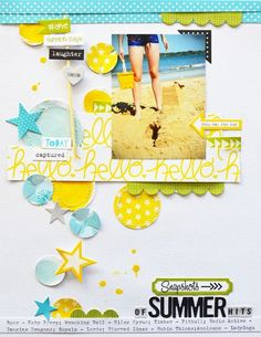 #papercraft #Scrapbook #layout. Bella Blvd Summer Squeeze collection. Summer Hit layout by dt member Leanne Allinson