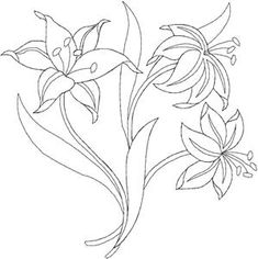 Draw Flower Patterns Quilters Flower 49 Larger Embroidery Design by Anita Goodesign Flower Embroidery Designs, Hand Embroidery Patterns, Applique Designs, Flower Patterns, Paint Designs, Designs To Draw, Lilies Drawing, Love Coloring Pages, Blackwork Embroidery