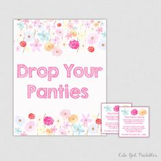 Panty Game - Floral Drop Your Panties - Floral Panties Game - Lingerie Bridal Shower Panty Game Cards - Bachelorette Party Game 0005W