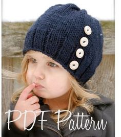 Knitting PATTERN-The Hudson Hat (Toddler, Child, Adult sizes) $5.50 easy but cute with those buttons
