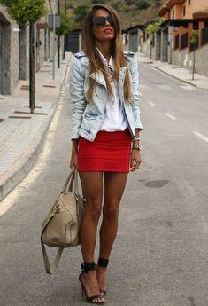 Mango red skirt, zara denim jacket