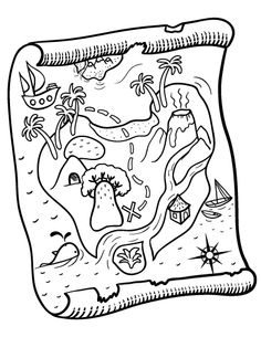 Preschool coloring page of treasure map printable Fantasy