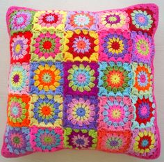 the patchwork granny square cushion cover / by handmadebyria