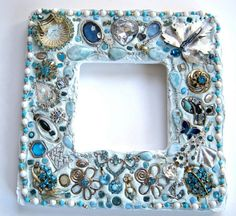 Jeweled Mosaic Mirror Turquoise Handcrafted OOAK by Nostalgianmore,