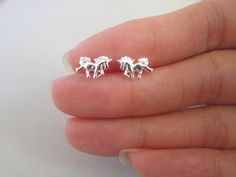 Tiny Sterling Silver Horse Stud Earrings by GreatJewelry4All, $16.00