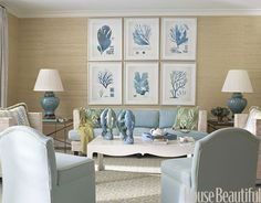 "Do Hang Artwork Together    Grouping framed pieces together makes a strong, lasting impression, like in the family room of this Palm Beach home by designer Meg Braff. ""By hanging six prints in a grid over the family room sofa, I got the impact of a much larger piece of art,"" she says."