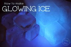 How to make non-toxic glowing ice, for fun science and sensory play for kids. Perfect for 'Frozen' themed play. Science Lesson Plans, Preschool Science, Science Experiments Kids, Science Lessons, Science For Kids, Science Activities, Science Projects, Steam Activities, Science Fun