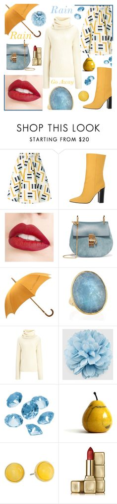 """""""Rain Rain Go Away"""" by andreamilles ❤ liked on Polyvore featuring Eggs, Dolce Vita, Jouer, Chloé, Hermès, Marco Bicego, Joseph, Gucci, Blue La Rue and Kate Spade"""