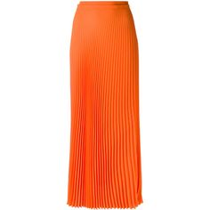 Haider Ackermann long pleated skirt ($659) ❤ liked on Polyvore featuring skirts, orange, bottoms, maxi skirt, long pleated skirt, orange pleated skirt, long ankle length skirts, long maxi skirts and floor length skirt