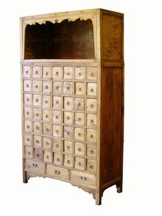 Antique Chinese Apothecary Cabinet, Cypress Wood, Circa Of Late 18th Century. A…