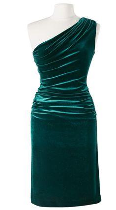 Emerald green velvet, one shoulder. Perfection.