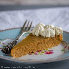 Crustless Low-Carb Pumpkin Pie | Low-Carb, So Simple! Just a few ingredients and a pie plate. More recipes at this blog.