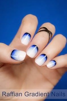 Nail art - intresting gradient with white and dark blue - Simple Nail Art Designs and Ideas 2014
