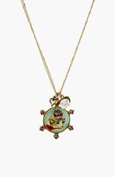 Betsey Johnson 'Vintage Bow' Cluster Pendant Necklace available at Gold Necklace, Pendant Necklace, Cameo Pendant, Backpack Purse, Betsey Johnson, Nordstrom, Girly, Pendants, Bows