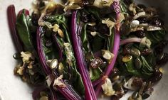 Autumn recipes - Wilted chard with caramelised onions and sultanas, Nigel Slater's recipes are the best! Chard Recipes, Spinach Recipes, Vegetable Recipes, Fall Recipes, Vegetarian Recipes, Healthy Recipes, Healthy Food, Olive Oil Butter, Meals Without Meat
