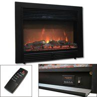 PuraFlame Western Electric Fireplace Insert with Remote Control, … - Wood Burning Fireplace Inserts Fireplace Heater Insert, Wood Burning Fireplace Inserts, Electric Fireplace Heater, Wall Mounted Fireplace, Diy Fireplace, Log Home Interiors, Log Home Plans, Electric Fires