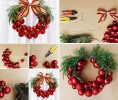 This Christmas Bauble Wreath is very EASY and INEXPENSIVE to make decoration. Why not to Craft your own Christmas. The post The Perfect DIY Christmas Bauble Wreath With Metal Hanger appeared first on The Perfect DIY. Diy Christmas Baubles, Christmas Ornament Wreath, Xmas Wreaths, Noel Christmas, Simple Christmas, Christmas Decorations, Burlap Christmas, Outdoor Decorations, Ornament Tree