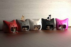 Modern cat house design Kitty Meow from Studio Mango look cute and charming, provide soft and warm beds for cats and add attractive room decor accessories in white, gray, black, red and pink colors to home interiors Crazy Cat Lady, Crazy Cats, Hate Cats, Animal Gato, Pet Furniture, Furniture Design, Modern Furniture, Cat Room, Pet Beds