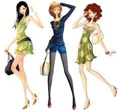 Jovensitas de compras - Imagen vectorial de chicas con vestidos de verano saliendo de compras.