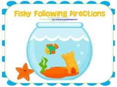 Free Fishy Following Directions Game- following 1-step, 2-step, and 3-step directions
