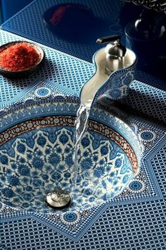 Marrakesh Ceramic Basin: Shows an abstract floral pattern. (Gonna make my entire house Moroccan blue tbh, one day Insha Allah)