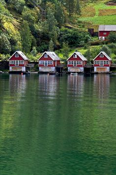 Fjord boathouses by Rozanne Hakala, via Flickr