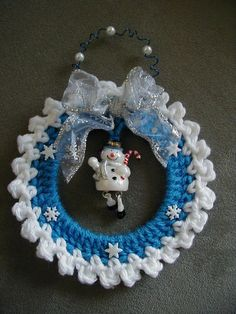 Hand Crochet Christmas Ornament Snowman by longvalleybears on Etsy, $3.25