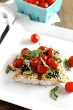 Barramundi with Balsamic Tomatoes. Barramundi with Balsamic Tomatoes - protein-packed healthy and delicious! Fish Dishes, Seafood Dishes, Seafood Recipes, Cooking Recipes, Healthy Recipes, Healthy Meals, Main Dishes, Healthy Eating, Whole30 Recipes