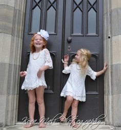 Reserved for Maegan The Autumn - Vintage Lace, Chiffon, Flower Girl Dress size 5T, with champagne flower headband and white flower clip on Etsy, $46.95