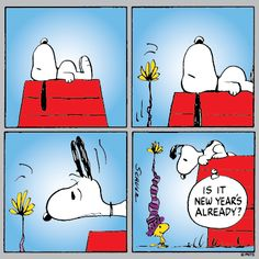 Snoopy On Doghouse With Woodstock In Winter Hat Below - Is It New Year's Already Snoopy Comics, Snoopy Cartoon, Peanuts Cartoon, Peanuts Snoopy, Peanuts Comics, Snoopy Love, Snoopy Und Woodstock, Snoopy New Year, Charlie Brown Und Snoopy