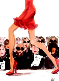 Izak Zenou Illustration.  The PERFECT depiction of #NYFW.  I went to the Tracy Reese show.