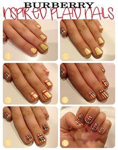 Burberry Nail Art Design