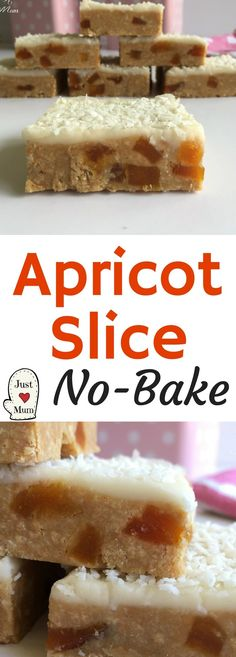 No Bake Apricot Slice substitute plain biscuits for the Wine biscuits No Bake Treats, No Bake Desserts, Easy Desserts, Delicious Desserts, Dessert Recipes, Yummy Food, Dessert Bars, Easy Cookie Recipes, Brownie Recipes
