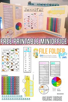 Privacy Folders with Mini Office inside. Mini Office is basically a custom built learning resource for your student. The goal of a mini-office is to serve as a self led reference chart for children. Kindergarten Learning, Preschool Activities, Kids Learning, Kindergarten Shapes, Learning Games, Free Preschool, Kindergarten Classroom Setup, Learning Stations, First Grade Classroom