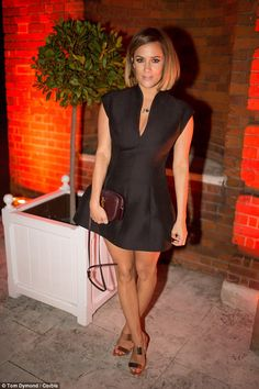 Caroline Flack and Rochelle Humes enjoyed a night away from the cameras as they attended Simon Cowell's End of Summer party in London, on Wednesday night. Rochelle Humes, Amanda Holden, Holiday Dresses, Plunging Neckline, Hair Dos, Bob Hairstyles, New Hair, Dress To Impress, Celebrity Style