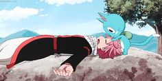 Happy and Natsu are the cutest not real (sadly) people and talking-flying-cat ever
