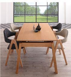 スライド伸縮式ダイニングテーブルと北欧デザインのチェア(4脚)の合計5点セット。テーブルは幅140センチから240センチまで伸縮!4人掛けから8人掛けまで対応できます。北欧デザインのチェアはモダンなチャコールグレーとサンドベージュの2色からお選びいただけます。大型家具配送(出荷後3日~7日でお届け)送料無料でお届けします。