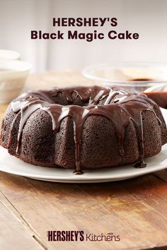 This Hershey's Black Magic Cake is crafted to spooky perfection. This easy dessert combines HERSHEY'S Cocoa and coffee to create a taste your guests won't forget. Bake this for your next birthday or Halloween party and watch it magically disappear! Bunt Cakes, Cupcake Cakes, Magic Cake Recipes, Easy Desserts, Dessert Recipes, Black Magic Cake, Dessert Simple, Different Cakes, Chocolate Desserts